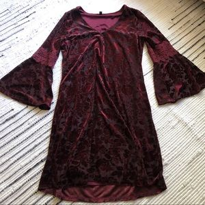 Gorgeous red velvet boho dress